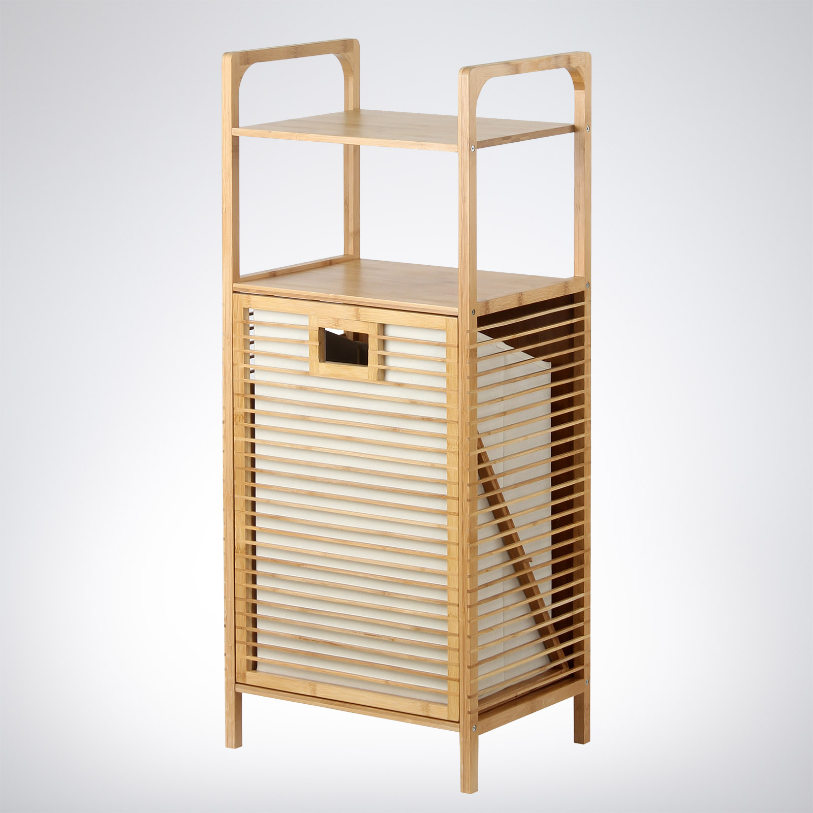 Bamboo 2 Shelf Storage Unit With Clothes Basket